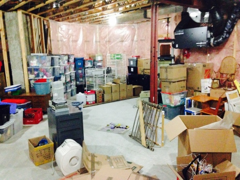 A portion of the boxes we have stored in our basement