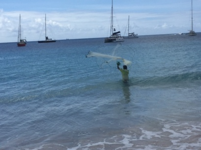 Man fishing in Barbados, January  20, 2015