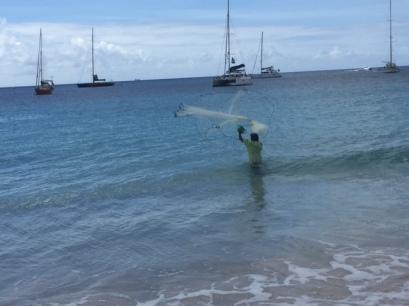 Man fishing in Barbados, January  20, 2015