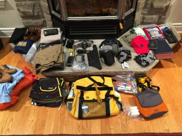 My husband's gear for crewing in Antigua laid-out and ready to be packed