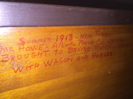 Inscription on our upright piano.