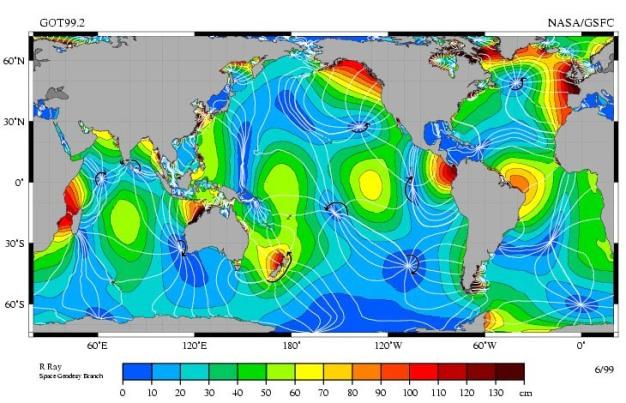 Global distribution of amphidromic points Credit: R. Ray and NASA