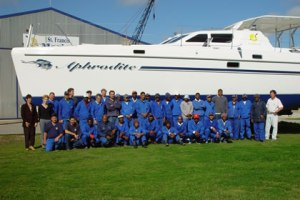 Photo credit: St Francis Marine. Our boat, SV Aphrodite, at St Francis Marine, South Africa