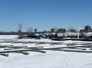 Docks on the frozen Ottawa River, March 2015