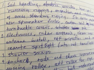 Brainstorming list of possible refits - photo from my husband's notebook