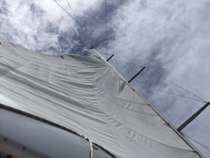 Rip in the main sail of SV Spirit of Juno, Farr 65