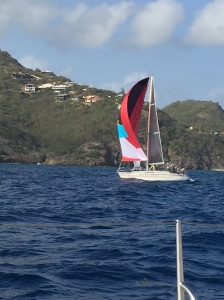 A spinnaker that displays the flag of Antigua
