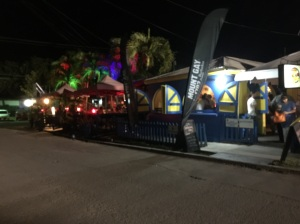Mongoose restaurant at night, Falmouth Bay, Antigua