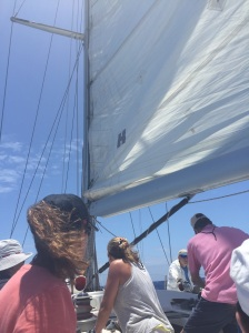 The sail catches the wind and springs to life on the SV Spirit of Juno