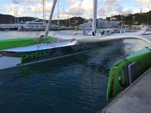 Trimaran Phaedo 3, docked in Falmouth Harbour
