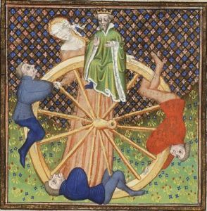 Not exactly Vanna White, the Goddess Fortuna determines fate and spins the original wheel of fortune.