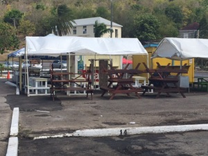 Street food vendors packing up today near Nelson's Dockyard