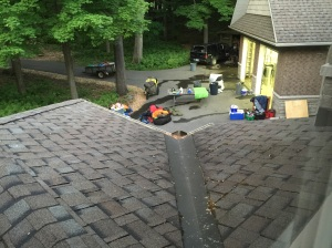 Dusk: our garage contents sits on the driveway, allowing us to clean the garage floor