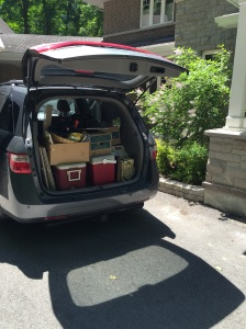 Today: our van loaded for a trip to Value Village
