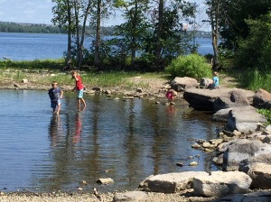 Our kids at the 'duck pond', which is along the Ottawa River Parkway