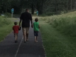 My husband, Rick, with Henry (left) and Paul (right)