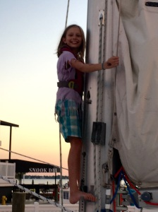Betty (age 9) climbs the mast of SV Aphrodite.