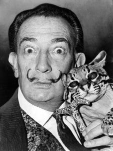 Salvador Dali and his ocelot cat, Babou