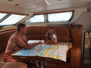 Rick and Betty discuss an RYA chart.