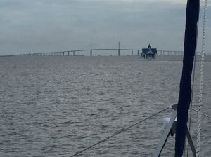 'Floating Chapel on the Bay' as it nears the Sunshine Skyway Bridge in Tampa.