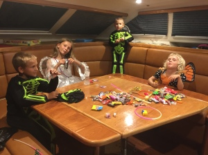 Halloween candy inspection on SV Aphrodite.