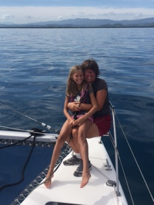 Betty (age 10) and me on SV Aphrodite near the northern coast of the Dominican Republic.