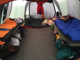 Inside our REI Kingdom 8 tent