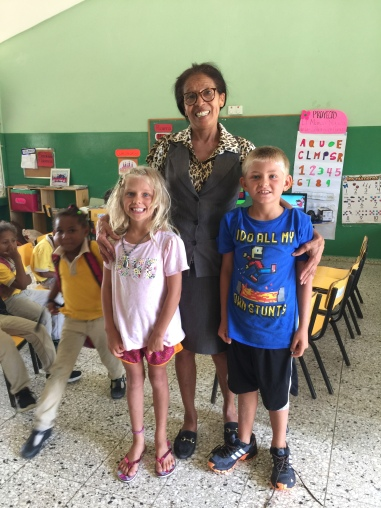 Learning in a Spanish environment. Karen and Henry visited their Kindergarten teacher, Raina, in Luperon, Dominican Republic, in 2019.